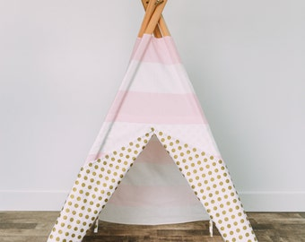 Pink and white kids teepee with metallic gold accents