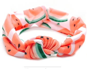 Watermelon - Turban Headband - Baby Girl Headwrap - Women's Headband - Turban Headwrap - Preemie Headband - Stretchy Headband - Summer