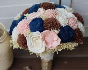 Blue Pink Brown Bouquet, wedding bouquet, rustic wedding, sola bouquet, keepsake bouquet, bridal bouquet, wedding flowers
