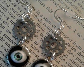 Steampunk Silver Cogwheel/Gear and Doll Eye Earrings