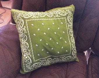 Army green bandana pillow