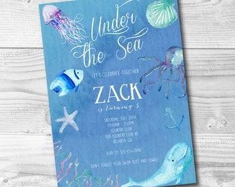 Pool Party Invitation Printable - Under the Sea Party - Pool Party - Pool Birthday Party Invitation - Can be Customized to any event