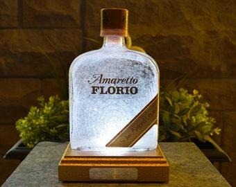 Amaretto Florio Liqueur Multicolour LED Bottle Lamp. Unique Gift, Table Lamp, Bar Lighting, Mood Lighting, LED Lighting. DiamondLiquorLights