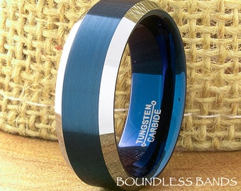 Tungsten Wedding Band Blue and White Beveled Tungsten Band Ring 8mm Mens Womens Tungsten Ring Anniversary Promise His Hers Comfort Fit New