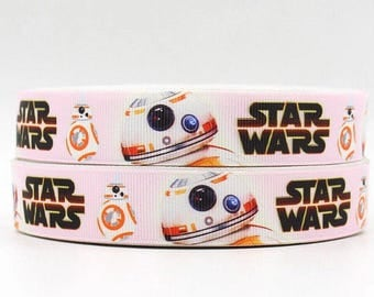 "Lot of 2 Metres of 7/8"" Grossgrain Ribbon - Star Wars BB8 - For Craft"