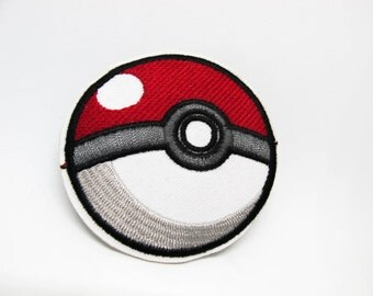 Pokeball Patch Iron on Patch(L2)-Pokemon Applique Embroidered Iron on Patch-Size 6.2 cm