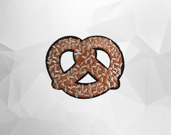 Pretzel Iron on Patch(M2)-Food Applique Embroidered Iron on Patch -Size 5.9x4.8 cm