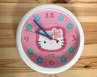 Vintage 1998 Sanrio Hello Kitty Kawaii Pink Clock