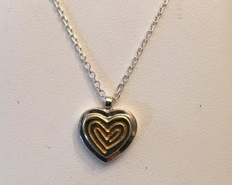 "18k yellow gold & sterling silver small heart pendant with swirl top, 20"", signed"