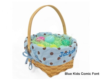 Personalized Woodchip Easter Basket - Blue with Chocolate Polka Dots, Large