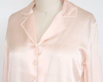 Pastel Pink Silk Button Up - Collar Blouse - Peach - Rose - Long Sleeve Top - Women's 2 Small