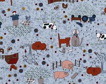 Pig Fabric / Pigs on Blue Fabric / High Meadow Farm Pigs Yardage Fabric / Yardage and fat Quarters
