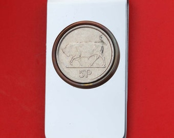 1992 ~ 2000 Irish Ireland 5 Pence Bull Coin Stainless Steel Money Clip New - Original Metal Colors without Any Plating