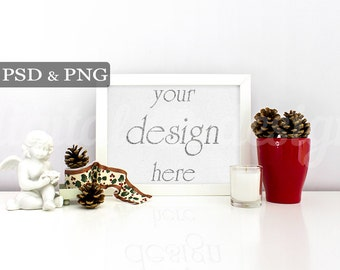 Christmas Angel and Cones Mockup Set Styled Stock Photography Download Frame Bundle Empty  Product Digital Background Smart Object