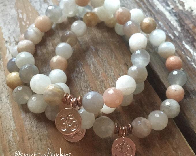 Stackable Mala Inspired Sunstone, Moonstone + Blood Moonstone Spiritual Junkies Yoga Bracelet w Hill Tribe Rose Gold Vermeil Om - 1 bracelet