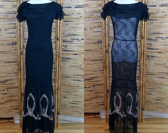 1930s Black Mesh, Lace & Embroidered Long Dress / Evening Gown - Extra Small/Small