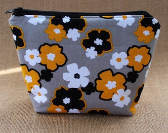 Gray/Yellow Floral Zipper Pouch, Zipper Pouch, Cosmetic Pouch, Coin Purse, Coin Pouch, Gift for Her, Ready to Ship