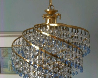 Clear Crystal & Azure Pure 30percent Lead crystal and Polished Brass chandelier