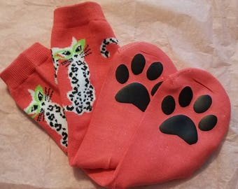 Paw print socks - cat lover socks - cat lover gift - kitty cat socks - gift for teen - cat print socks - cat paw socks