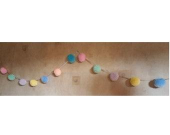 Pastel Pompom Garland, Pompom Bunting, Nursery Garland, Pastel Pompoms, Bedroom Pompom Garland, Bedroom Decor, Nursery Decor