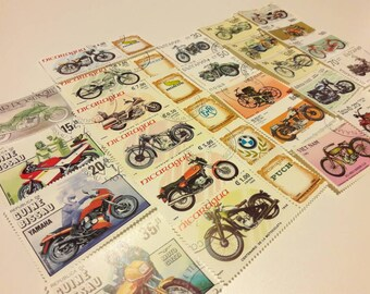 25 Vintage Motorcycle Postage Stamps. Worldwide