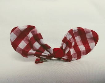 Red and White Gingham Hairclip. Infant Hair Clip.