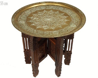 53 Cm Ø Antique Oriental Brass Egyptian Moroccan Tray Tea Table Plate Side  Table With Collapsible