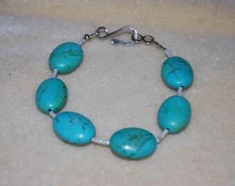Handmade Turquoise Bracelet with Hook & Eye Closure