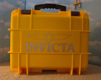 Invicta 8 Slot Impact Hard Dive Storage Collector Waterproof Case Yellow