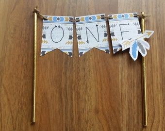 1st Birthday Blue & Gold Tribal 'ONE'Cake Bunting