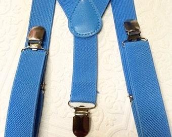 Baby suspenders, light blue baby suspenders, toddler suspenders, blue suspenders, sky blue suspenders