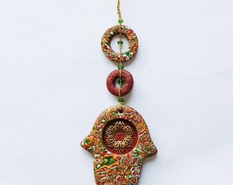 Small wall Hamsa -  home blessing, polymer clay hamsa, fimo hamsa, FREE SHIPPING .