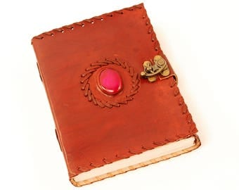 Handmade Pink Colored Stone Tooled Leather Blank Journal, Diary, Sketch or Notebook Book