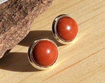 Red Jasper Earrings,Gems Stud Earrings,Red Small Stud,Christmas Stone Stud,Stone Post Earrings,Christmas Gift Stud,Woman Gift,Boho Chic Gift