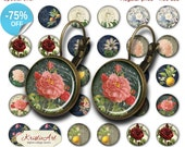 75% OFF SALE Flowers Symphony - 18mm, 16mm, 14mm, 12mm, 10mm Circles Digital Collage Sheets E-020 Printable Flowers Earring, Rings, Jewelry