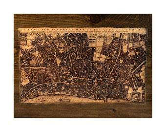 Historic Map of London Wood Wall Art