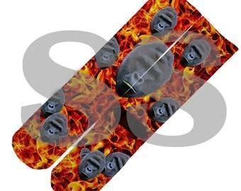 Custom Socks - Harambe Flames! Harambe Flames Fire Gorilla Ape RIP elites elite sock