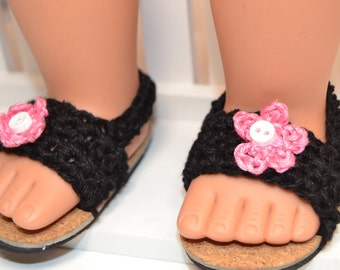 "18"" Doll Black Crocheted Sandals"