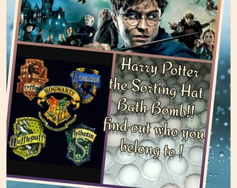 Harry Potter the Sorting Hat Bath Bomb -  find out which house is your's ! Ultra Lush assorted scent real essential oil 4 colors 4 houses