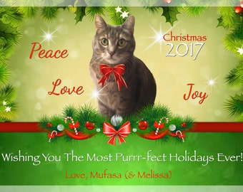 Custom Pet Photo Christmas Card, Personalized Holiday Card with Your Pet Photo, DIGITAL FILE, Peace Love Joy Christmas Card, From Cat, Dog