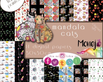 Mandala cats. Digital papers. funds. invitations. patterns.
