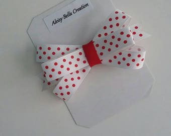 Red polka dot simple bow