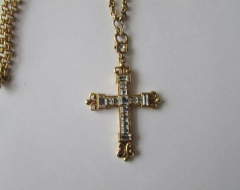 Vintage Rhinestone Cross The Vatican Library Collection Gold Tone Chain & Cross