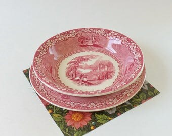 Royal Staffordshire Dessert Bowls and Plates - Vintage Red and White Jenny Lind China - 2 Five In. Fruit Bowls and 4 Six In. Dessert Plates