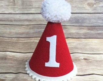 1st birthday hat - Valentines Day hat - mini red and white party hat - boys girls first birthday hat - mini birthday hat - small Party hat