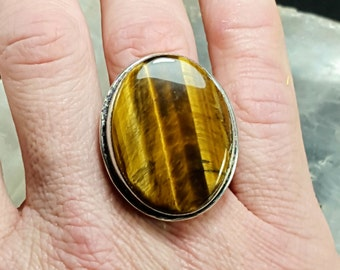 Tiger's Eye Statement Ring - Size 6.75