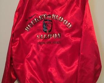 Vintage bucket of blood saloon satin bomber jacket  mens xl great shape