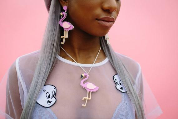 Flamingo Acrylic Necklace or Brooch