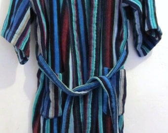 A Mens vintage 80's,Multi-STRIPED TERRYCLOTH Robe By T.J.Lawford.M