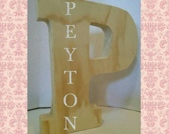 Freestanding Wooden Letter with Name